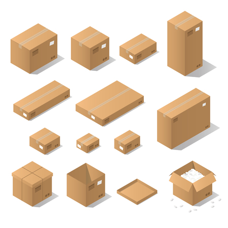 Vector isometric cardboard box set. Collection of isometric cardboard boxes of different types - open box, closed box, boxes with a postal filler.