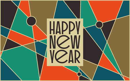 Abstract vintage mid century new year�s card design. Abstract geometric space background. Illustration