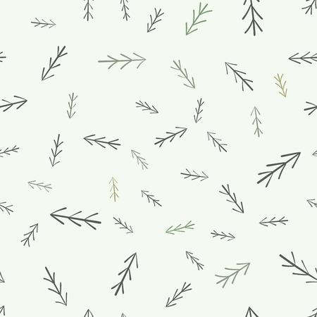 fur tree: Fur tree seamless pattern. Simple minimalist hand drawn natural design.