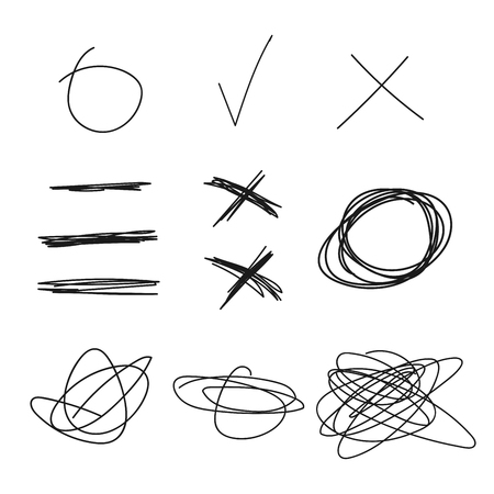 circl: Vector collection of different hand-drawn design elements. Illustration