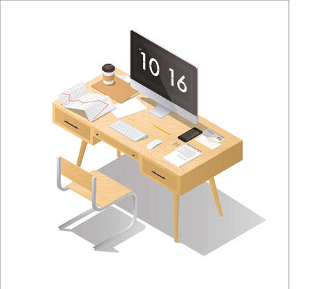 Isometricr office concept illustration workplace interior set: mid century office table, modern chair, pictures, board, home plants, desktop computer, lamp, trash can, letters, keyboard. Illustration
