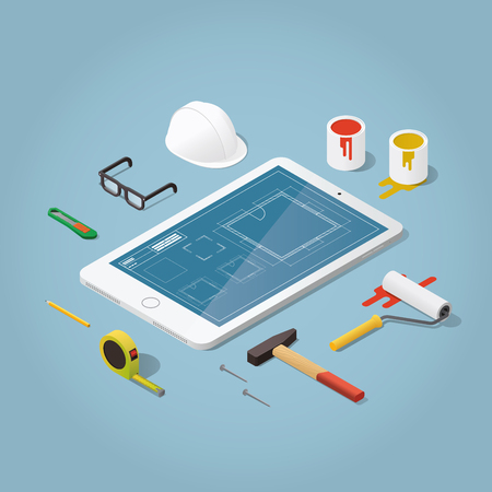 hammer and nails: Isometric vector apartment room renovation illustration. Toolbox set: blueprint plan of room, buckets with paint, paint roller, helmet, hammer, nails, knife pencil. Repair and construction concept.