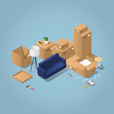 open floor plan: Isometric detailed concept illustration of moving to a new house. Cardboard boxes with furniture, couch, wheel chair, lamp, different instruments and tools.