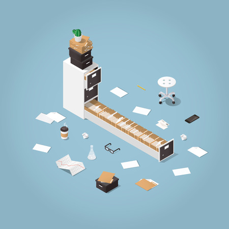 A Vector isometric concept illustration. Opened file storage cabinet with lost of patients files and documents with medical office supplies around. Illustration of doctors office.