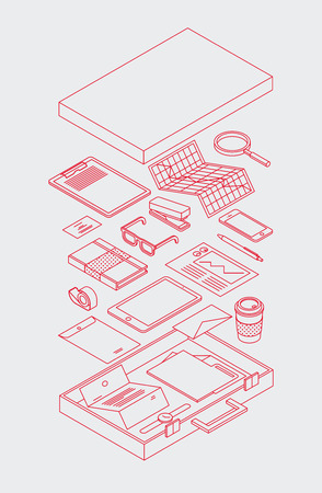 Vector isometric illustration of business man briefcase. Minimalistic outline style. Opened case with office stationery. You can also edit outlines, just add stroke wight to shapes on editable layer.