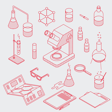 Isometric chemical laboratory tools set. Minimalist outline style. Various test tubes, flask, microscope and other. You can also edit outlines, just add stroke wight to shapes on editable layer.