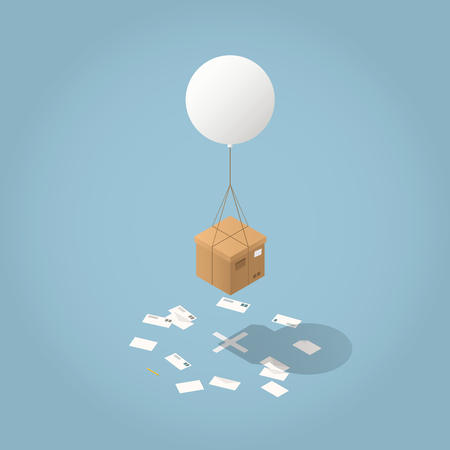 Vector isometric mail delivery concept illustration. Cardboard box are delivered by flying balloon to its destination - cross on the floor with envelopes all around.