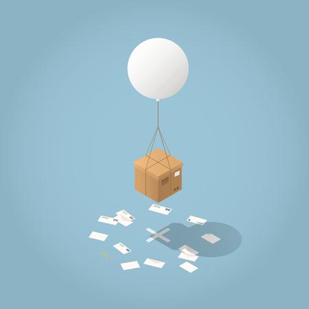 Isometrische Zustellungskonzeptillustration des Vektors. Pappkartons werden per fliegendem Ballon an ihren Bestimmungsort geliefert - mit Umschlägen ringsum über den Boden kreuzen. Standard-Bild - 93963717