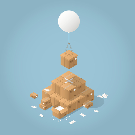 Vector isometric mail delivery concept illustration. Cardboard box are delivered by flying balloon to the stack of parcel boxes of different sizes and shapes.
