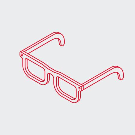 Minimalistic outline isometric eye glasses icon. Simple geek frame.