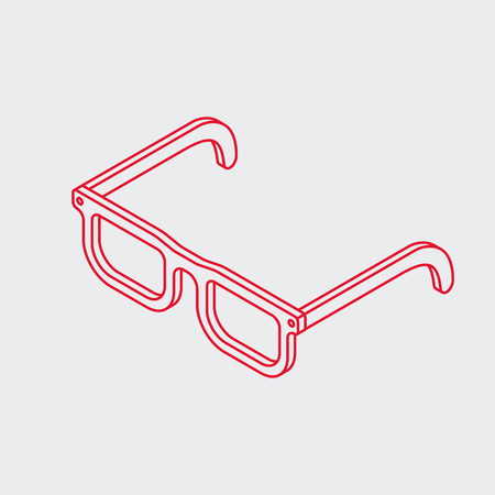 Minimalistic outline isometric eye glasses icon. Simple geek frame.