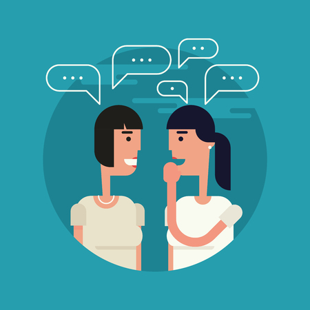 Flat vector illustration of two girl friends gossiping with each other. One girl tells some secret covering her mouth, speech bubbles are over them.