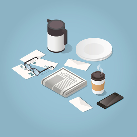 Isometric vector morning newspaper concept illustration. Daily news paper, glasses for reading, phone and hot morning coffee. Modern business lifestyle.