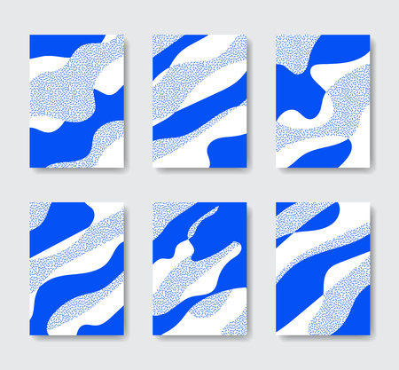 Collection of abstract backgrounds. Organic fluid backdrops in new memphis style. A3, A4  format.