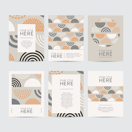 Vector template of abstract designed brochures. Set of festive and colourful cards.