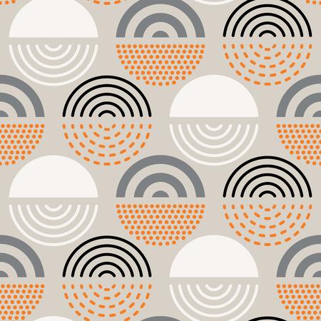 Motif géométrique absctract sans soudure de vecteur au milieu du siècle. Design rétro polygonal.