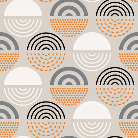 Vector seamless mid century absctract geometric pattern. Polygonal retro design.