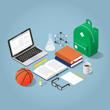 Vector isometric school homework concept illustration. Stack of books, backpack surrounded with papers, stationery and laptop. Read up for exams.