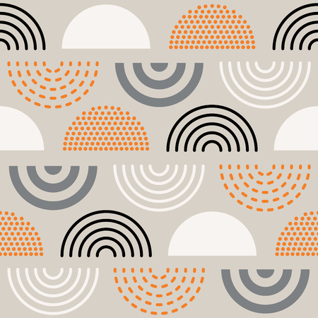 Vector seamless mid century absctract geometric pattern. Retro design.