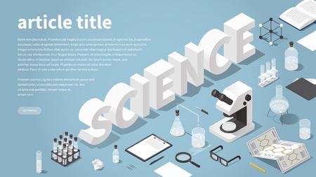 Isometrische vectorillustratie bestemmingspagina met wetenschapsthema. Grote woordwetenschap omringd met chemisch laboratoriumvoorwerpen - microscoop, reageerbuizen, kolven, bekerglas, glazen, boek, vergrootglas, tablet.