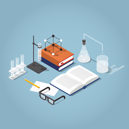 Vector isometric school homework illustration. Studying chemistry illustration. Stack of books with test tubes, open book, glasses and chemistry equipment. Read up for exams concept.