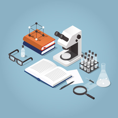 Vector isometric school homework illustration. Studying chemistry illustration. Stack of books with test tubes, open book, microscope, glasses and chemistry equipment. Read up for exams concept.