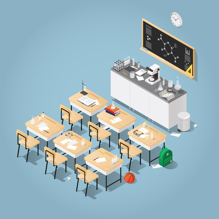 Vector isometric illustration of chemistry class. Classroom laboratory with necessary equipment, students desks, chairs blackboard, microscope, test tubes and flasks, books. Studying process concept. Иллюстрация