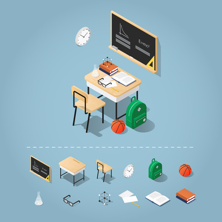Isometric school classroom vector illustration and set of objects: blackboard, table, chair, basketball, backpack, books, stationery, glasses, papers, test-tube, clocks, atomic model and papers. Иллюстрация