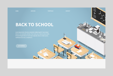 Vector isometric illustration of chemistry class landing page. Classroom laboratory with necessary equipment, students desks, chairs blackboard, microscope, test tubes and flasks, books. Web banner.