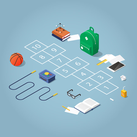 Isometric concept illustration of school break in the schoolyard. Hopscotch surrounded with school kid stuff: backpack, books, skipping rope, basketball, glasses, tablet, lunchbox and juice, chalk. Ilustração