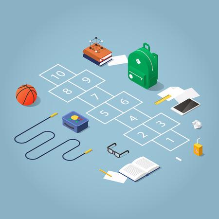 Isometrische concept illustratie van schoolpauze op het schoolplein. Hinkelen omringd met schoolkinderen spullen: rugzak, boeken, springtouw, basketbal, bril, tablet, broodtrommel en sap, krijt.