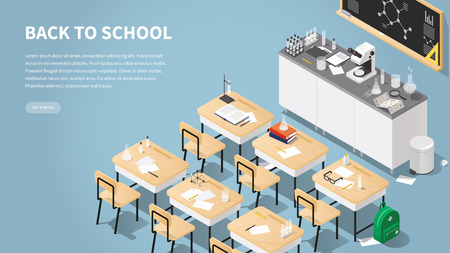 Vector isometric illustration of chemistry class landing page. Classroom laboratory with necessary equipment, student's desks, chairs blackboard, microscope, test tubes and flasks, books. Web banner. Vektorgrafik