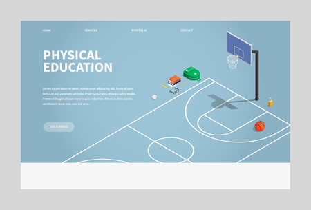 Vector isometric physical education illustration. Basketball court with hoop and ball, there are also school backpack, books, glasses and pack of juice. Sports after school. Landing page concept. 向量圖像