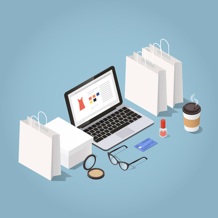 Vector isometric illustration of online shopping and delivery. laptop surrounded with shopping bags, shoe box, woman glasses, credit card, nail polish, powder and coffee cup. Clothes shopping concept.