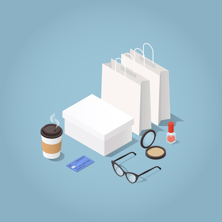 Vector isometric illustration of clothes and cosmetics shopping. Shopping bags, shoe box, woman glasses, credit card, nail polish, powder and coffee cup. Modern woman shopping concept. Illustration