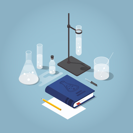 Vector isometric school homework illustration. Studying chemistry illustration. A book with test tubes, flask, stand, paper, pencil and other chemistry equipment. Read up for exams concept. Иллюстрация