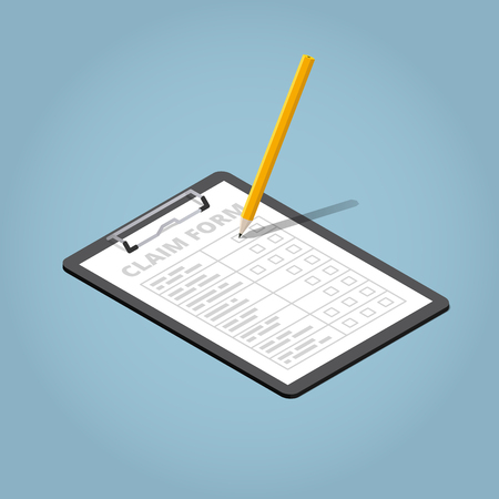 Isometric claim form illustration. Pad with sheet of paper and writing pencil.