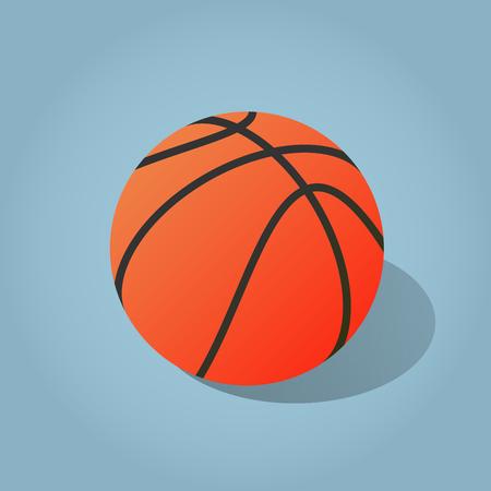 Vector isometric illustration of basketball. Simple minimal basketball sport icon. Иллюстрация