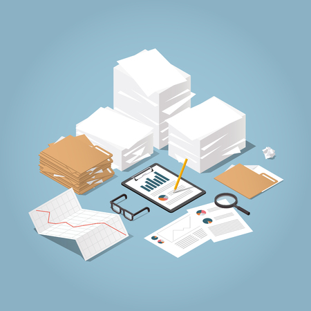 Vector isometric illustration of working with documents. Big stacks of paper and folders with glasses, documents, charts, magnifier.  Analysing and researching creative process concept. Illustration