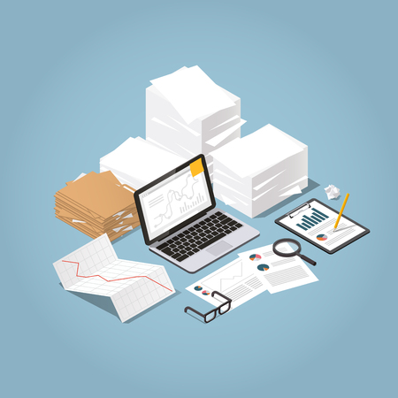 Vector isometric illustration of working with documents. Big stacks of paper and folders with laptop, glasses, documents, charts, magnifier, tablet. Analysing and researching creative process concept.