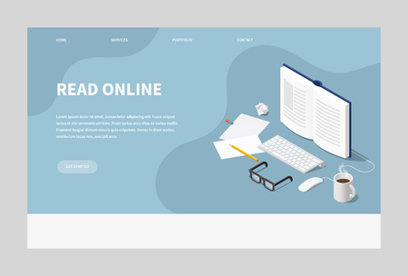 Vector isometric online reading concept illustration. Open book with computer keyboard, mouse, glasses papers, pencil and cup of coffee. Landing page. Иллюстрация