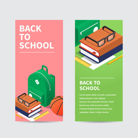 Vector isometric school homework concept flyer. Layout of schoolkid stuff, such as backpack, books, ball and stationery. Highly detailed.