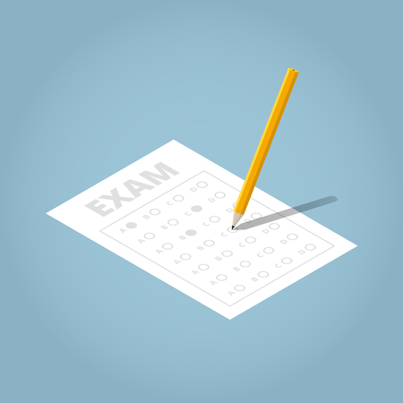 Vector isometric illustration of exam sheet with pencil. Angled pencil filling the examination form. School concept.