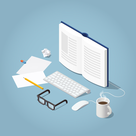 Vector isometric online reading concept illustration. Open book with computer keyboard, mouse, glasses papers, pencil and cup of coffee.