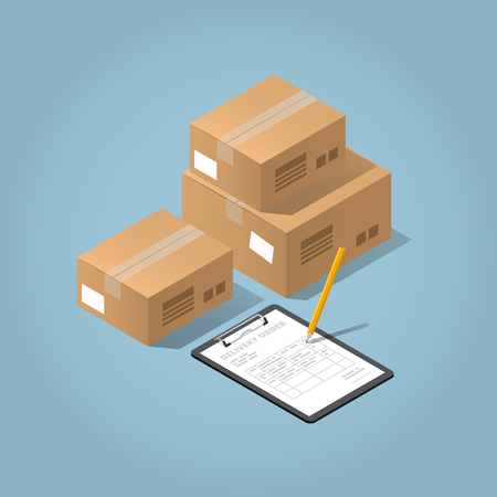 Vector isometric concept illustration of delivered purchases. Cardboard boxes and a clipboard with delivery form and angled pencil.