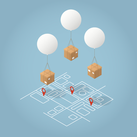 Vector isometrische postbezorging concept illustratie. Kartonnen dozen worden geleverd door vliegende ballonnen naar hun bestemming op een abstracte kaart. Vector Illustratie