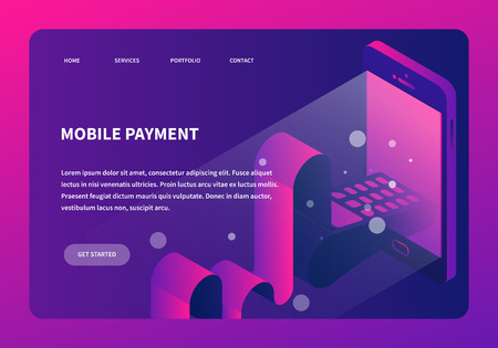 Vector isometric online payment concept illustration. Device with card terminal appearing through screen with card and long receipt. Neon futuristic style landing page..