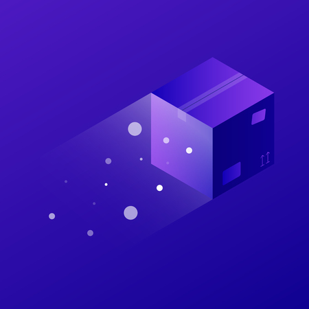 Vector isometric concept shipping illustration. Fast flying cardboard box. Neon futuristic style.