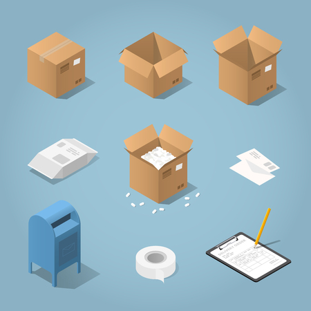 Isometric vector postal shipping objects set. Illustration of mailbox, different cardboard boxes, package, letters, open box with filler,  envelopes, delivery form clipboard, pencil, adhesive tape. Иллюстрация