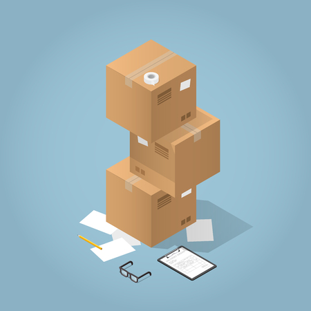 Vector isometric concept illustration of delivered purchases. Cardboard boxes and a clipboard with delivery form,pencil, adhesive tape and paper. Stock Illustratie